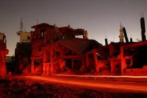Damaged buildings in the rebel-held area of Deraa, Syria