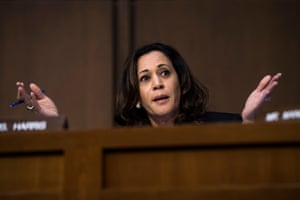 Kamala Harris asks questions during a Senate intelligence committee in 2017.