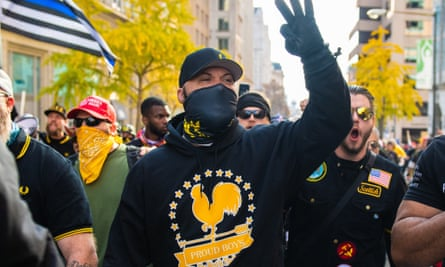 The Proud Boys demonstrate near Freedom Plaza in Washington DC over election results on 14 November.