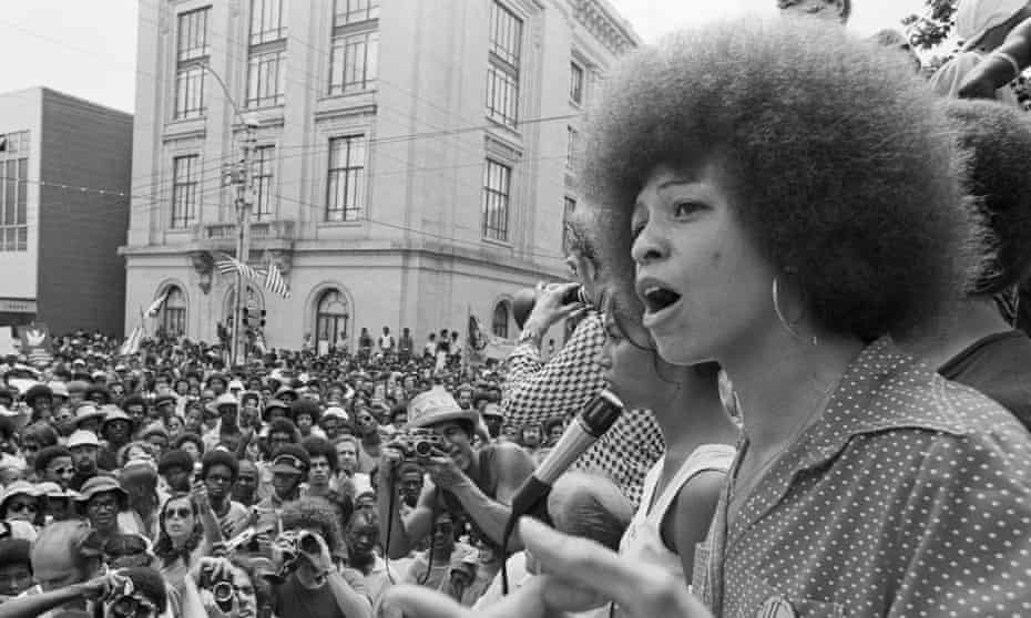 Angela Davis speaking at a street rally in 1974.