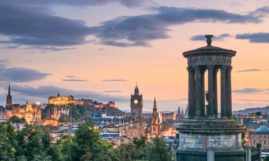 Edinburgh's skyline at dusk. The city hopes to welcome back live events as part of its range of 2021 festivals.