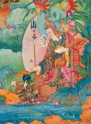 A detail from the Lukhang Temple murals. The image depicts Guru Rinpoche – or Padmasambhava – accepts obeisance from the naga king.