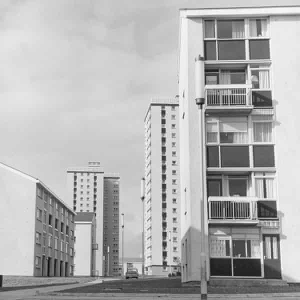 Maisonettes and flats at Muirhouse Housing Development, Motherwell, 1966.