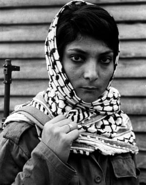 Leila Khaled who hijacked a TWA airliner to Damascus in 1969, at a Palestinian refugee camp in Lebanon 1970