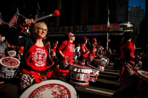 Members of a marching band in New York