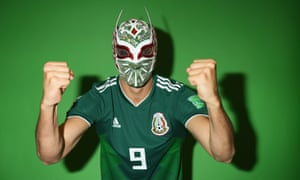 Raul Jimenez of Mexico with the inevitable Mexican wrestling mask prop someone always seem to have lying around for photoshoots.