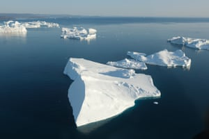 Icebergs float at the mouth of Ilulissat Icefjord