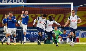 Harry Kane celebrates the fourth Tottenham goal.