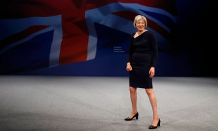 Theresa May steps out at Conservative party conference in Manchester.