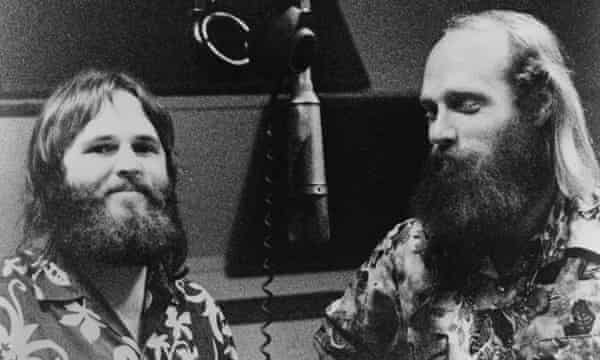 Carl Wilson and Mike Love in the studio.