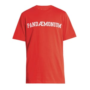 red t-shirt with Pandemonium slogan in white on front OAMC matches