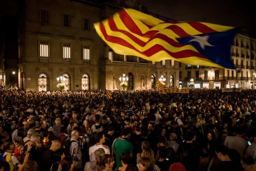 Thousands fill Barcelona's streets in protest over prison terms for Catalan separatist leaders on Monday.