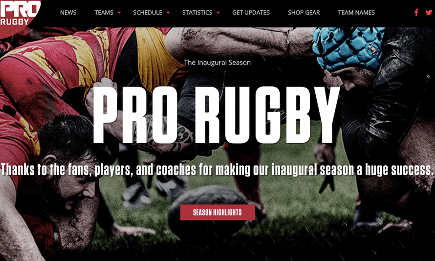A screen shot of the PRO Rugby website, prorugby.org.