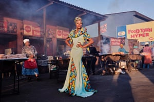 Belinda Qaqamba Ka-Fassie, a drag artist and activist, poses at a shisa nyama – a community space where women cook and sell meat – in Khayelitsha, a township located on the Cape Flats, near Cape Town, South Africa, 2019