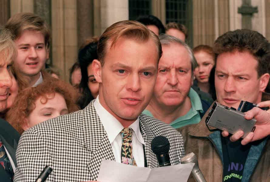 Jason Donovan outside the high court in London after winning his 1992 libel case against the Face magazine