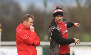 Mark McCall, left, Saracens' director of rugby, says Paul Gustard, right, 'may struggle with the down time [with England] because with us he did line-outs as well as defence and he is always seeking more to do'.