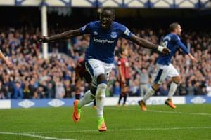 Niasse celebrates scoring the second for Everton.