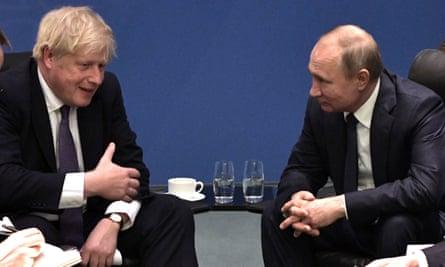 Boris Johnson and Vladimir Putin in January
