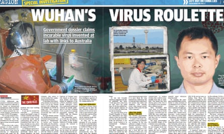 """News Corp tabloid the Daily Telegraph carried this front-page report on 2 May 2020 claiming it had a """"bombshell dossier"""" revealing China covered up the origins of coronavirus."""