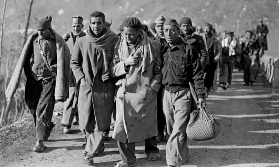 Republican fighters arriving in France in 1939 after fleeing Spain where the nationalists troops of General Franco won the civil war.