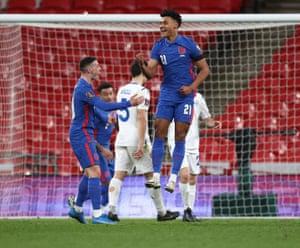 Ollie Watkins of England celebrates after scoring on his international debut.