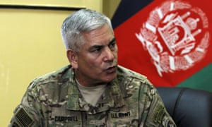 General John F Campbell, commander of international forces in Afghanistan, speaks during a press conference in Kabul, Afghanistan, on Saturday.