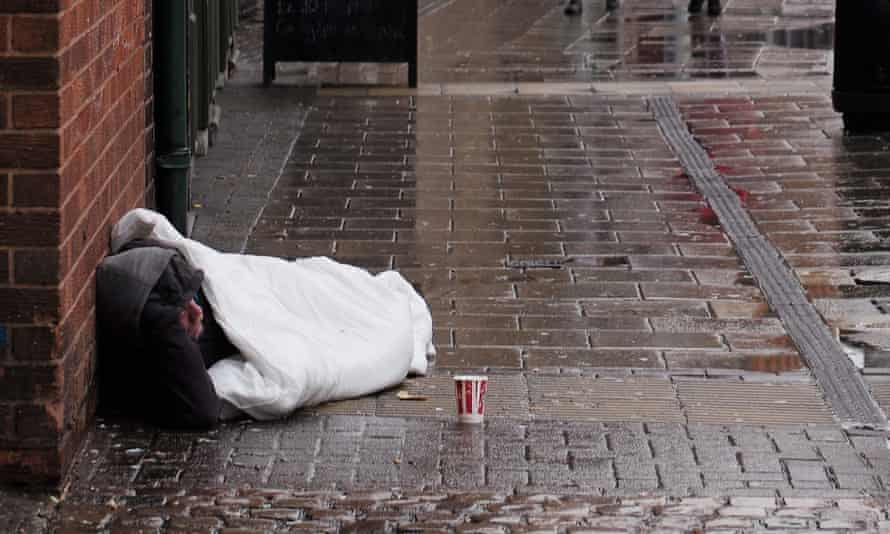 A homeless man on the streets of Birmingham