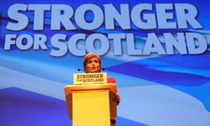 Nicola Sturgeon addressing delegates at the 2016 SNP conference in Glasgow.