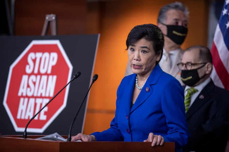 Congresswoman Judy Chu delivers remarks during a press conference about hate crimes bill.