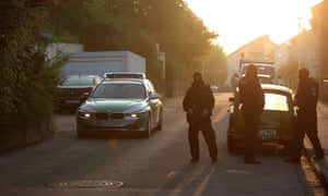 Armed police outside a home in Ansbach on Monday.
