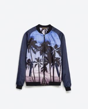 Purple palm tree print bomber jacket