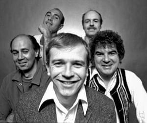 McNally (front) with fellow playwrights Tom Eyen, Leonard Melfi, Ken Bernard and David Starkweather in March 1973.