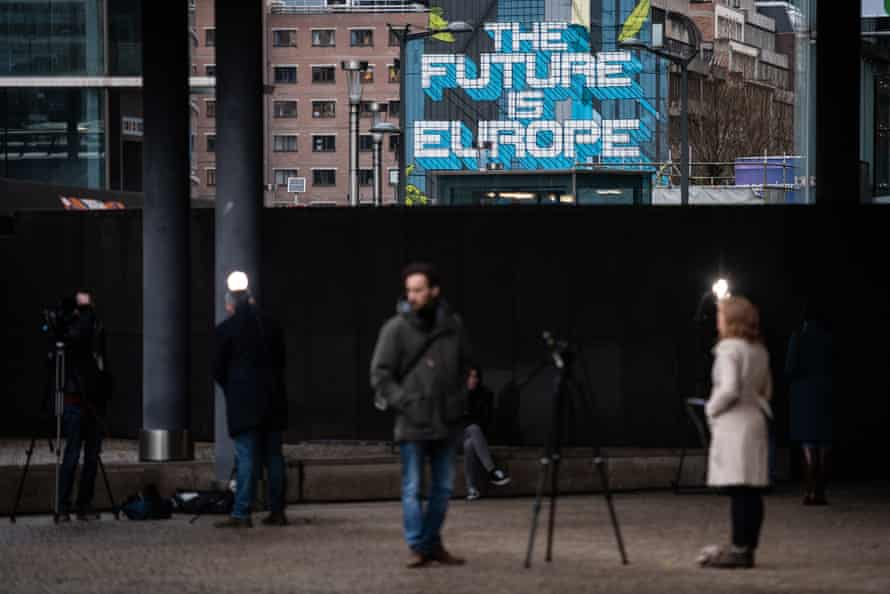 'The Future is Europe' by the Belgian artist NovaDead, near the European parliament building in Brussels, 2 March