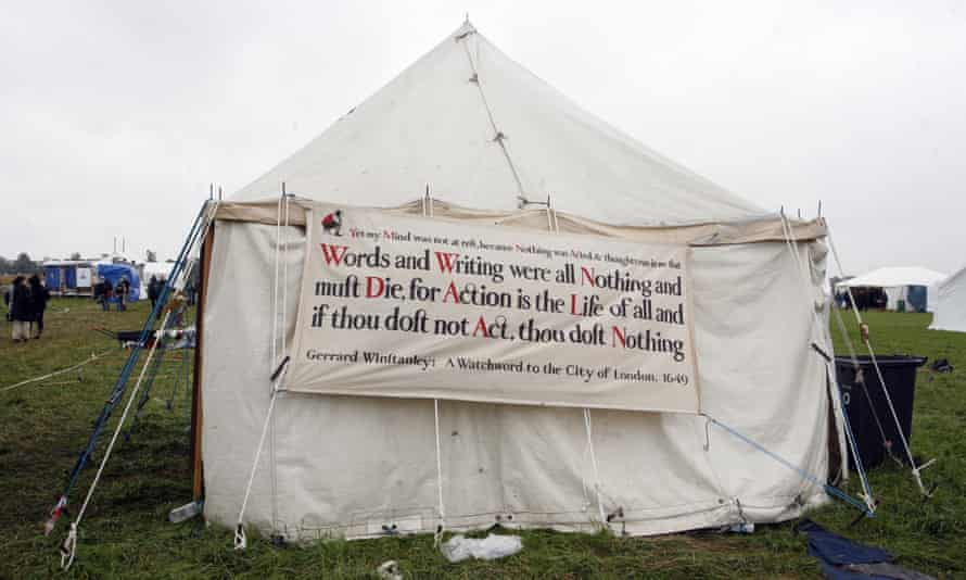 """A quote by Gerrard Winstanley on a tent at a """"climate camp""""."""