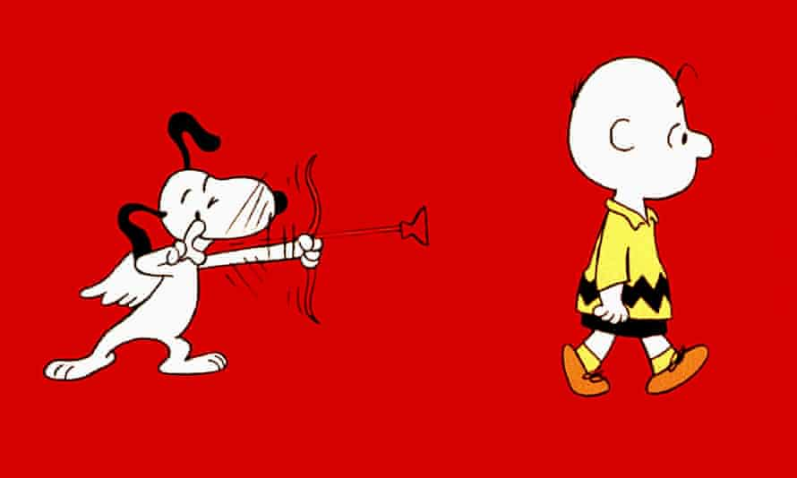 Snoopy with wings and Cupid's arrow taking aim at Charlie Brown in the 1967 film You're in Love, Charlie Brown.