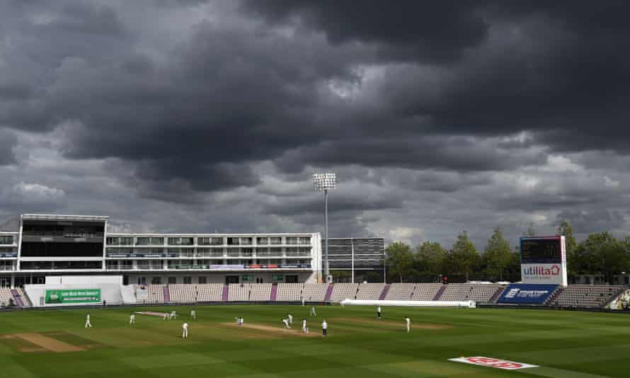 Dark clouds over the Ageas Bowl during England v Pakistan in August. Rain is predicted to impact the final in Southampton this week.