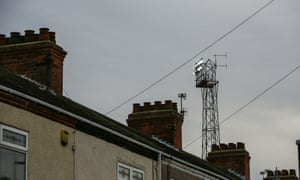 Floodlights over Blundell Park, home stadium of Grimsby Town