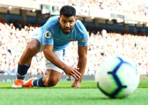 Manchester City's Sergio Aguero reacts as City beat Brighton 2-0 at the Etihad Stadium and move to the top of the table.