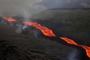 Lava from the 'piton de la fournaise' flows down the east-south-east face of the volcano on the Indian Ocean island of Reunion.