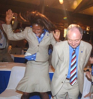 Celebrating with Denise Lewis in 2005 after London being awarded the 2012 Olympics.