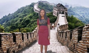 Kenyan Sevelyn Gat went viral after posting photos to Facebook of herself on a dream trip to China. The image shows Gat who has photoshopped herself onto an image of the Great Wall of China.