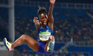 Tianna Bartoletta leaps to victory in the women's long jump at Rio 2016.