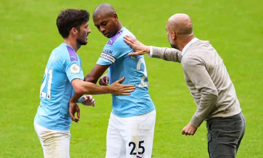 David Silva (left) will leave Manchester City at the end of the season while the future of Fernandinho (centre) has yet to be decided.