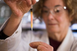 Biogeochemistry lab manager Janet Hope from the ANU research school of earth sciences holds a vial of coloured porphyrins (pink coloured liquid), believed to be some of the oldest pigments in the world.
