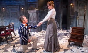 Impish devilry … Tom Hollander as Henry Carr and Clare Foster as Cecily in Travesties by Tom Stoppard.