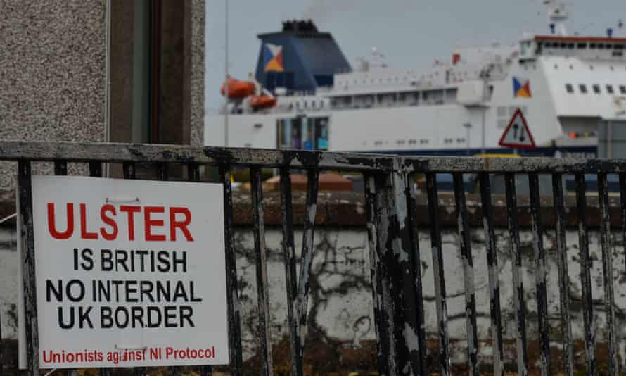 A sign in the port of Larne, Northern Ireland, April 2021