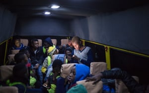The team inside a minivan used to travel to games owing to the lack of public transportation
