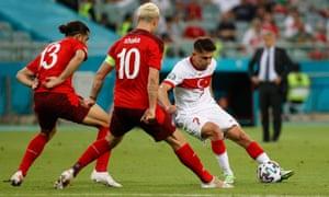 Turkey's forward Cengiz Under on the ball.