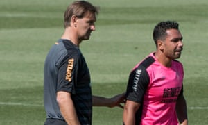 Tony Adams with Kieran Richardson during his first training session with the team.
