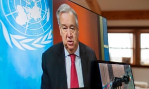 UN Secretary-General Antonio Guterres holds a virtual press conference, at UN headquarters in New York on 3 April, in which he renews his call for a global ceasefire.